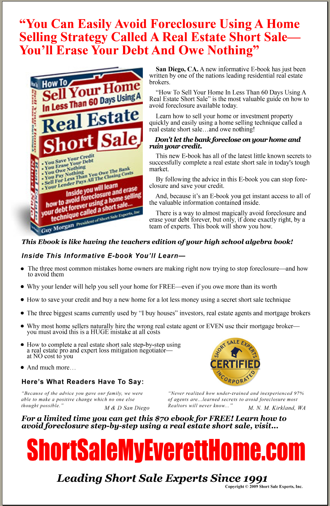 Short Sale Marketing